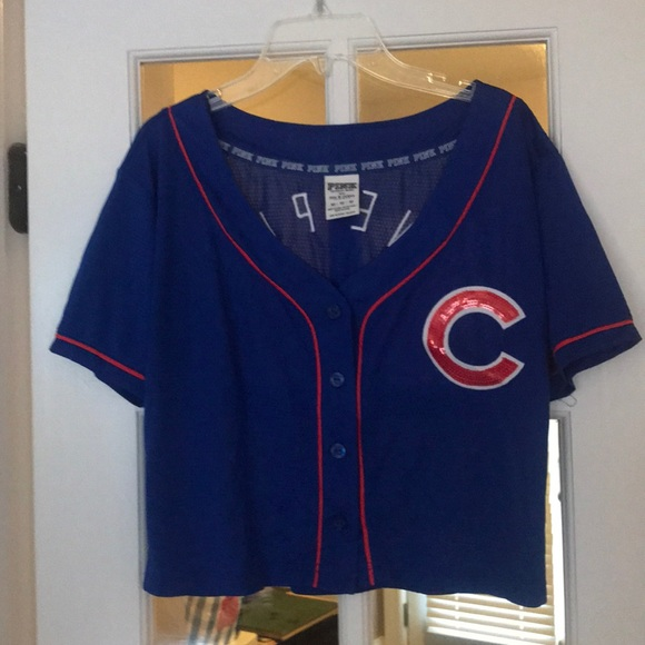 7f2dc2fed80 PINK Victoria's Secret Tops | Vs Pink Cropped Chicago Cubs Jersey ...